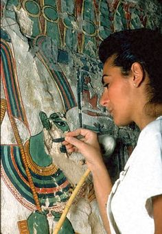 """Getty team working on the conservation of the tomb of Nefertari. The favorite wife of Rameses the great whom he called """"For Whom the Sun Shines""""."""