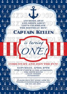 Hey, I found this really awesome Etsy listing at https://www.etsy.com/listing/125119472/nautical-first-birthday-invitation
