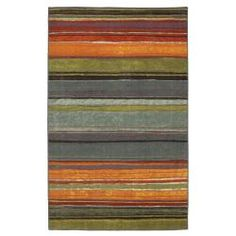 Rainbow Multi Stripe Rug Rug (5' x 8') either for living or family room - colors would work in both