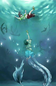 Ghibli - Le Voyage de Chihiro (Spirited Away) Miyazaki - Chihiro & Haku Fan Art Hayao Miyazaki, Studio Ghibli Art, Studio Ghibli Movies, Awesome Anime, Anime Love, Manga Anime, Anime Art, Chihiro Y Haku, Castle In The Sky