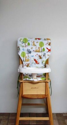replacement cotton fabric high chair pad, highchair cover, Eddie Bauer wooden high chair, baby, child care, kids feeding,  forest fellows by SewingsillySister on Etsy