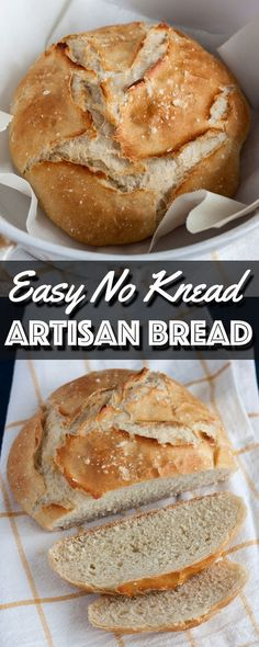 Easy No Knead Artisan Bread is exactly what the name describes. It is easy, requires no kneading, and it makes a rustic artisan loaf of bread that looks and tastes just as good as anything you can get from a bakery. | wildwildwhisk.com #artisanbread