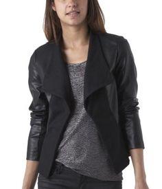 Damen-Jacke aus Materialmix schwarz - Promod