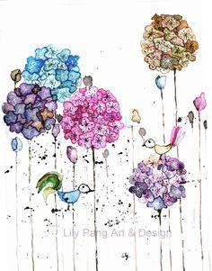 Birds and Lace Blume Original-Aquarell von Lily Pang Kunst und Produkte auf DaWanda.com