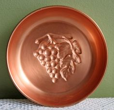 Copper Bowl with Embossed Grapes.  Solid Copper Dish with Hanging Loop. Decorative Wall Hanging for Kitchen. Solid Copperware. by AnythingDiscovered on Etsy