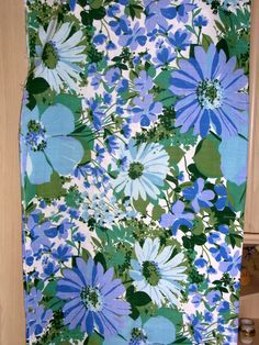 Vintage Sandersons Blue Green Fabric Flowers on Etsy, Sold
