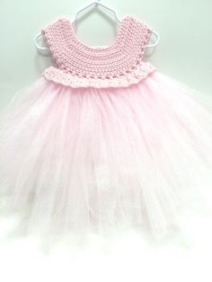 Crochet Top Pink Baby Tulle Tutu Flower Girl Dress Sizes 3 to 24 Months Made in the USA Baby Tulle Dress, Crochet Tutu Dress, Tulle Flower Girl, Girls Tutu Dresses, White Flower Girl Dresses, Diy Dress, Crochet Top, Barbie, Couture