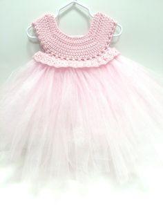 Crochet Top Pink Tutu Baby Tulle Dress Sizes 3 - 24 Months Tulle Flower Girl Dress