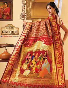World's costliest Kanchipuram saree. This exceptionally stunning saree is woven with 12 precious stones and metals to depict 11 of Raja Ravi Varma's popular paintings.