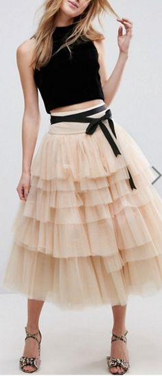 tiered tulle skirt for the Silly Girls and then different color tops?