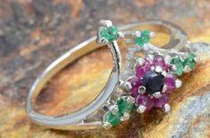 Genuine Emerald Ruby Sapphire ring Sterling Silver http://mandala.ecrater.com/p/15125543/genuine-emerald-ruby-sapphire-ring