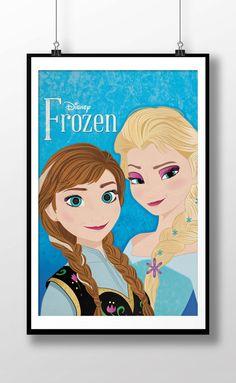 Disney's Frozen Anna & Elsa Movie Poster  11x17 by loniwdesigns, $15.00