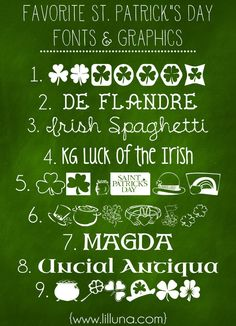 St Patricks Day Fonts and Graphics Favorite Free St. Patrick's Day Fonts and Graphics. These are perfect to use for printables! List on { }Favorite Free St. Patrick's Day Fonts and Graphics. These are perfect to use for printables! List on { } Fancy Fonts, Cool Fonts, Awesome Fonts, Saint Patrick, St Pattys, St Patricks Day, Silhouette Fonts, Silhouette Cameo, Computer Font