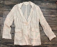 Eileen Fisher Jacket Linen Light Beige Knit Sz Small 47H #EileenFisher #Jacket
