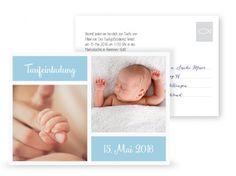 ©littlecards Postkarte Taufeinladung Fotofront in Hellblau 3D Ansicht