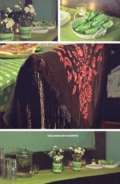 Feria de abril en casa - decoración en verdes