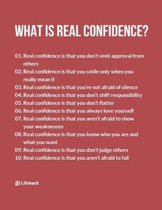 Real Confidence Isn't Like What Most People Think Of – Inspirational Quotes Self Confidence Tips, Confidence Quotes, Confidence Images, Confidence Building, How To Build Confidence, What Is Confidence, Gaining Confidence, Building Self Esteem, How To Gain Confidence