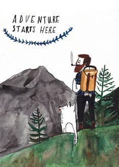 Adventure starts here illustration by Dick Vincent Illustration Arte, Watercolor Illustration, Fru Fru, The Draw, Art Inspo, Art Drawings, Art Photography, Character Design, Artsy