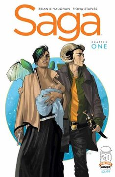 Saga Volume One written by Brian K. Vaughan and graphic by Fiona Staples.  Genre: Sci-fi fantasy planetary galactic theme Read in January 2015 4.75 out of 5 stars Character development rich whereas you want each character to have their own graphic novel. 1 negative dialog thin at times.