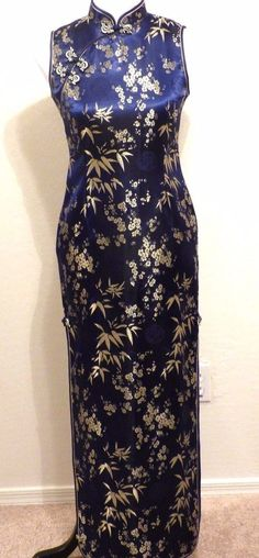 NEW Long Navy & Gold Asian Evening Dress XS 2 BodyCon Fitted Hi Side Slits #Unbranded #MaxiSheathWigglePencilHighSideSlitsBodyCon #Formal