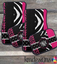 Zebra & Giraffe hot Pink Car Floor Mats Choose by KMDesignsBG, $49.00  @Etsy #zebraprint #giraffeprint #etsy
