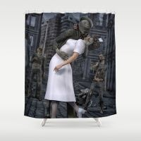 Zombies Kiss  Shower Curtain