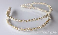 Perla Cristal novia diadema doble imitación por VintageTaylorMaid