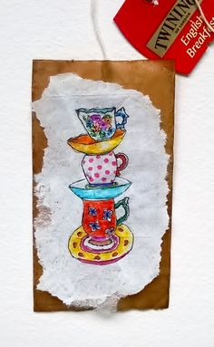 Tea Cups Tea Bag, from my original mini-painting tponcary@aol.com