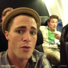 So look who took the Selfie. On my phone @ColtonLHaynes Vancouver here we come. #Arrow jb