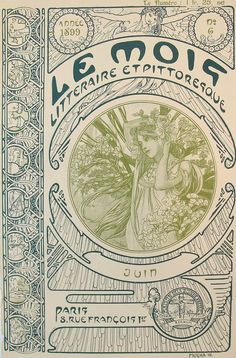 Alphonse Mucha: 1898 Cover of 'Le Mois' literary journal June 1899 lithography
