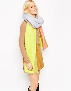 ASOS Oversized Fluffy Scarf In Color Block