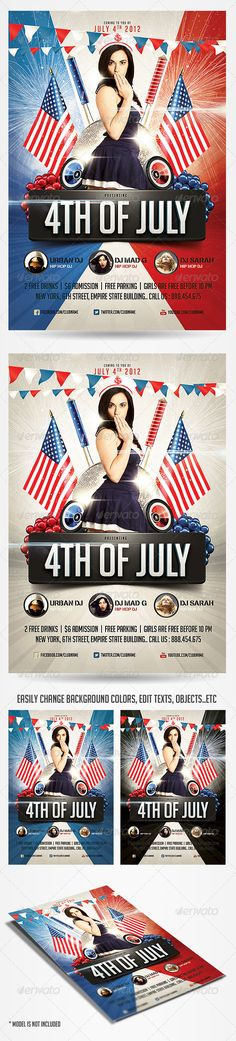 Please dont forget to RateThe best choice for your 4th of July Party Flyer.. easily editable, highly organized file.. You can easily change Texts, Colors, Add/Remove objects to this layered PSD , To get new versions of the design.. What you see is what you get¡ all elements shown are included in the PSD except for the model .. PURCHASE INCLUDES