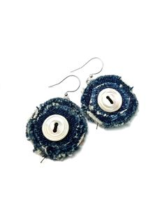 Denim Circle Earrings, Button Earrings, Fabric Jewelry, Upcycled, Mother of Pearl Denim Earrings, Button Earrings, Circle Earrings, Handmade Shop, Handmade Items, Handmade Jewelry, Denim Crafts, Button Crafts, Denim Decor