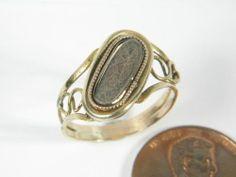 ENGLISH GOLD MOURNING HAIR LOCKET RING c1820 | eBay