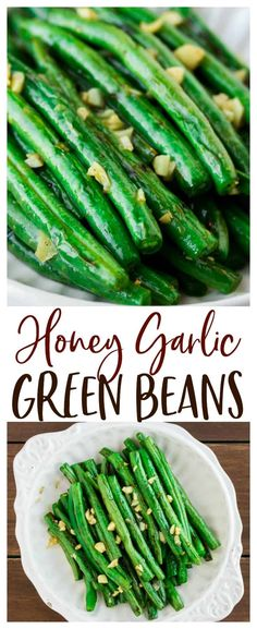 Honey Garlic Green Beans - the simple addition of honey and garlic to sauteed green beans make this somewhat plain vegetable taste absolutely amazing! Healthy Side Dishes, Veggie Dishes, Dishes Recipes, Honey Garlic Green Beans, Healthy Green Beans, The Best Green Beans, Green Bean Dishes, Healthy Vegetables, Healthy Green Vegetable Recipes