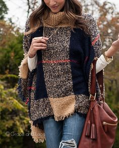 Grace and Lace - Cowl Neck Poncho in Navy/Camel, $49.50 (http://www.graceandlace.com/all/cowl-neck-poncho-in-navy-camel/)