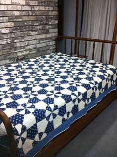 Vintage Hand Quilted Blue and White