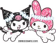 Glitter Kuromi and My Melody holding hands
