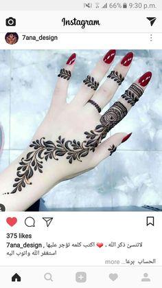Pretty finger design for henna Eid Mehndi Designs, Modern Mehndi Designs, Mehndi Design Pictures, Henna Designs Easy, Beautiful Mehndi Design, Mehndi Tattoo, Henna Tattoo Designs, Henna Mehndi, Henna Art