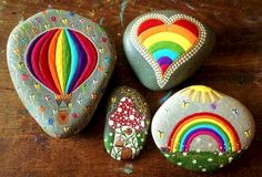 Get creative with these DIY painted rocks. From mandala rocks to easy painted rock crafts for kids, there are plenty of ideas for inspiration. Pebble Painting, Dot Painting, Pebble Art, Stone Painting, Rainbow Painting, Painting Patterns, Stone Crafts, Rock Crafts, Arts And Crafts