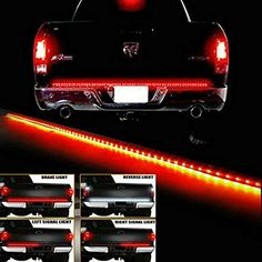Waterproof 60 Red/white Tailgate LED Strip Light Bar Reverse Brake Turn Signal Tail for Ford GMC Toyota Nissan Honda Truck SUV 44 Dodge Ram Chevy chevrolet Avalanche Silverado Dodge Ram 1500 Accessories, Chevy Silverado Accessories, Truck Accessories, Red Led Lights, Led Tail Lights, New Trucks, Pickup Trucks, Chevy Trucks, Custom Trucks