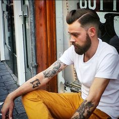 A crisp side parted pomp dressed with Layrite deluxe pomade for the hold & shine. WWW.LAYRITE.COM