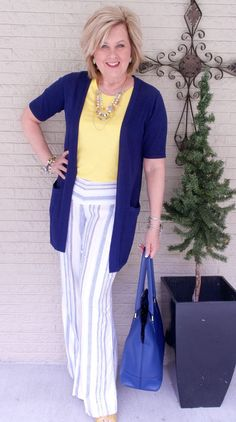 50 IS NOT OLD   A RAY OF SUNSHINE   FASHION OVER 40   Stripes for Spring   Linen Pants   Yellow and Navy   Fashion over 40 for the everyday woman