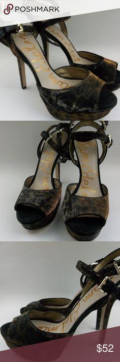 Sam Edelman Heel Shoes  8 Sparkle Black Cheetah Great Condition;  Sam Edelman Heels Shoes Women 8 Sparkle Black Copper Cheetah Animal Print; Double Ankle Buckle Strap Sam Edelman Shoes Heels