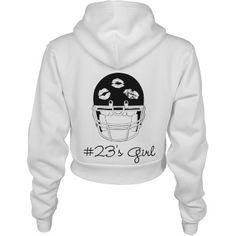 Football Girlfriend of 23 Custom American Apparel Crop Full Zip Hoodie from Customized Girl. Saved to Custom Football Girlfriend Apparel & Gifts. Football Memes, Football Girlfriend Shirts, Football Boyfriend, Football Couples, Football Heart, Football Outfits, Football Shirts, Football Season, Cheerleading Shirts