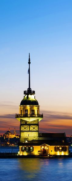 Maiden's Tower (Kiz Kulesi) also known as Leander's Tower since the medieval Byzantine period, is a tower lying on a small islet located at the southern entrance of the Bosphorus. Istanbul,Turkey