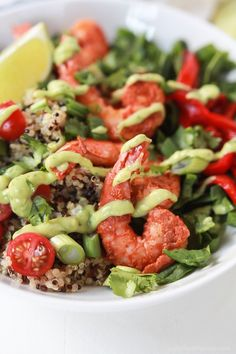 Blackened Shrimp Quinoa Bowl topped with a silky Avocado Crema - an easy, delicious, gluten free recipe that can be on the table in just 30 minutes!   joyfulhealthyeats.com