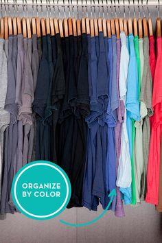 Arrange clothing like a rainbow.