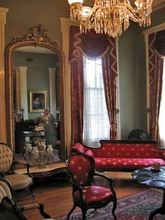 Parlor at Oakleigh Mansion, Mobile - 24K gold threads in the pattern in the draperies