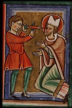 medieval manuscript The martyrdom of St. Leger, Bishop of Autun: his eyes are pierced with a drill Medieval Manuscript, Illuminated Manuscript, Catholic Saints, Roman Catholic, Patron Saints, Catholic Online, Saint Denis, Medieval Life, October 2